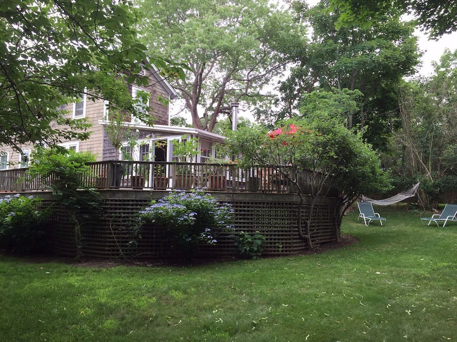 Enjoy the private backyard in the center of the village!
