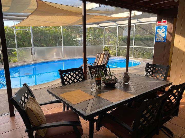 Heated pool near beach thoroughly sanitized 2B/2B