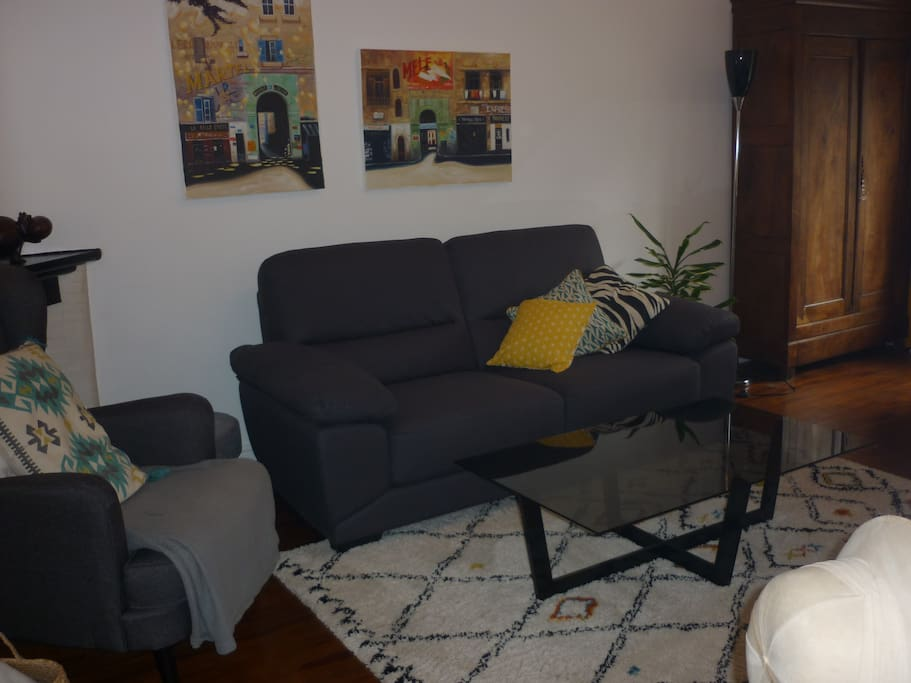 Salon: canapé 3 places + fauteuil et pouf