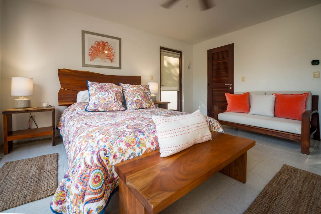 Upstairs the master king suite is stylish and comfortable