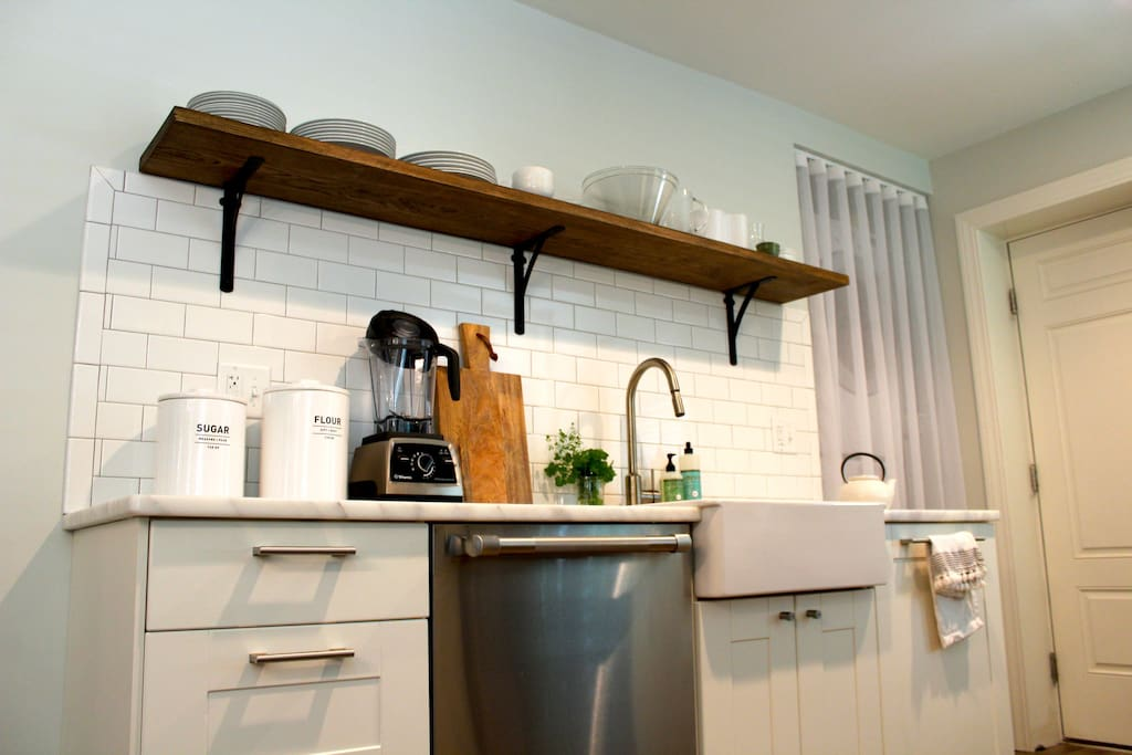 Marble countertop with back splash