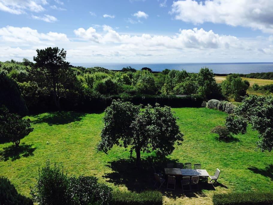 Le jardin devant la maison avec vue sur l'ocean