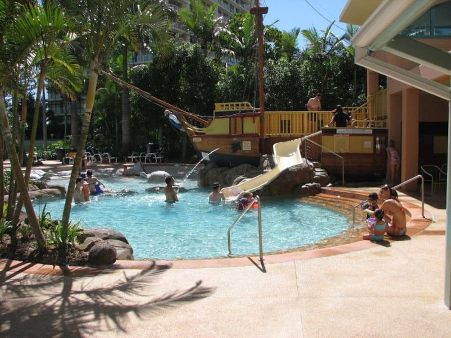 Kids Pool with Pirate Ship Slide