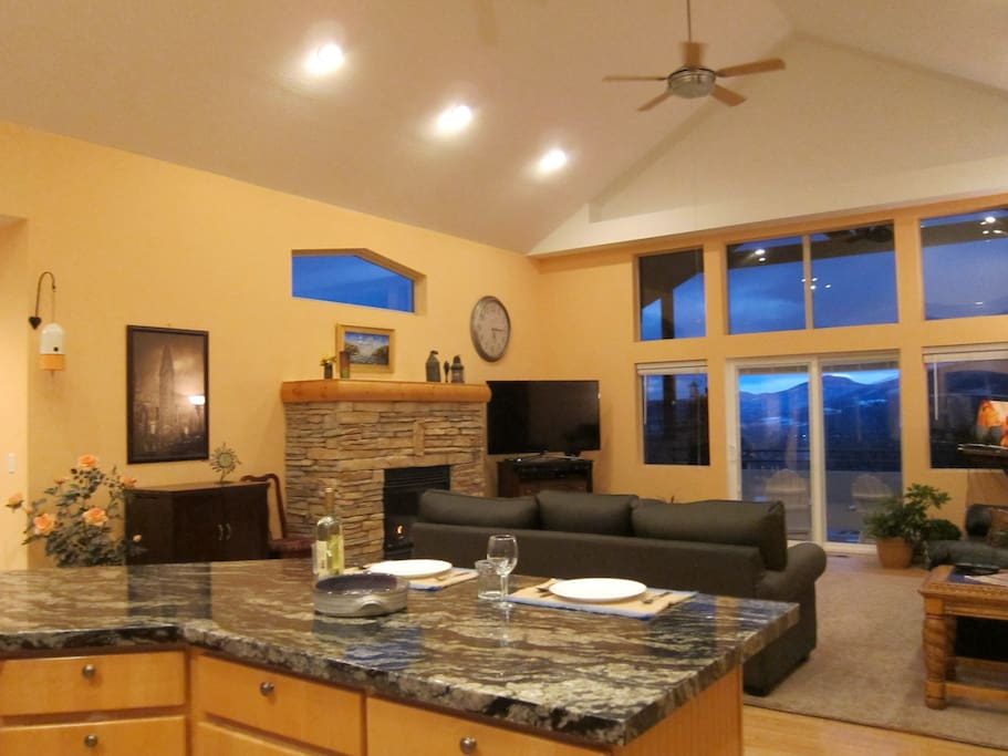 Great Room with Snow basin views  in the back round