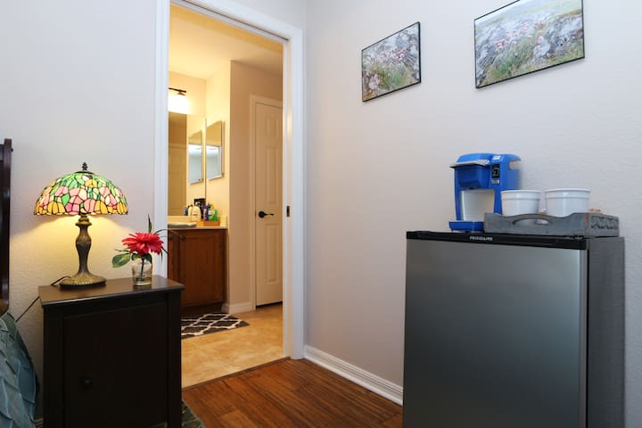 Private entry to bathroom along with your own refrigerator and coffee/tea maker