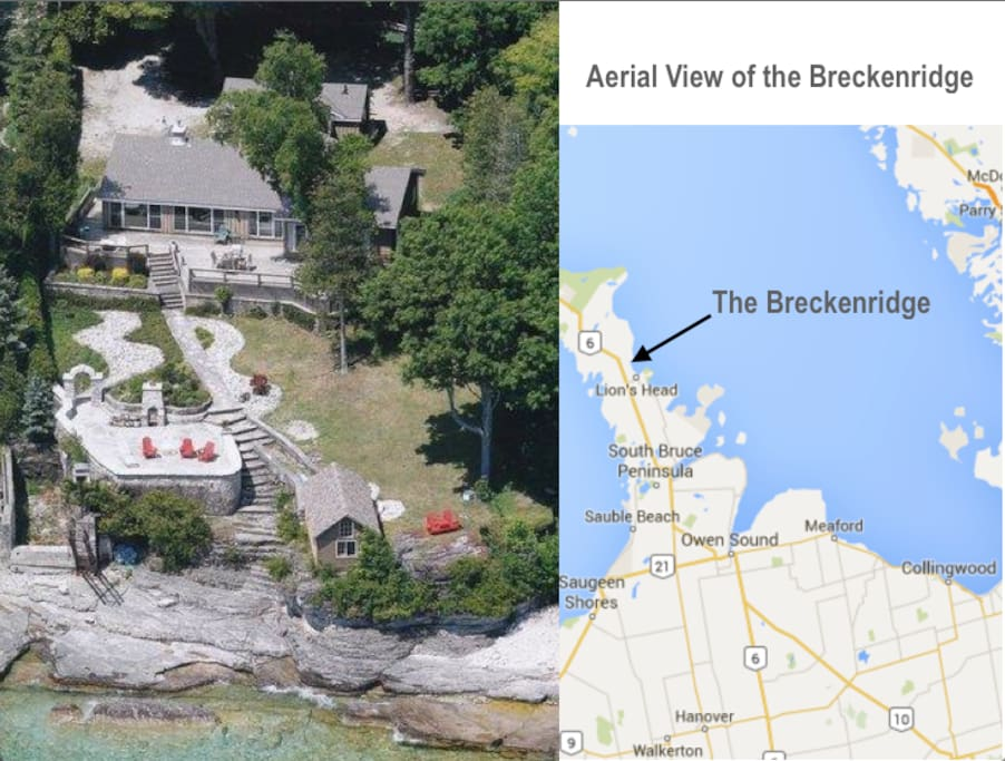 Aerial view of the cottage and location on the Bruce Peninsula