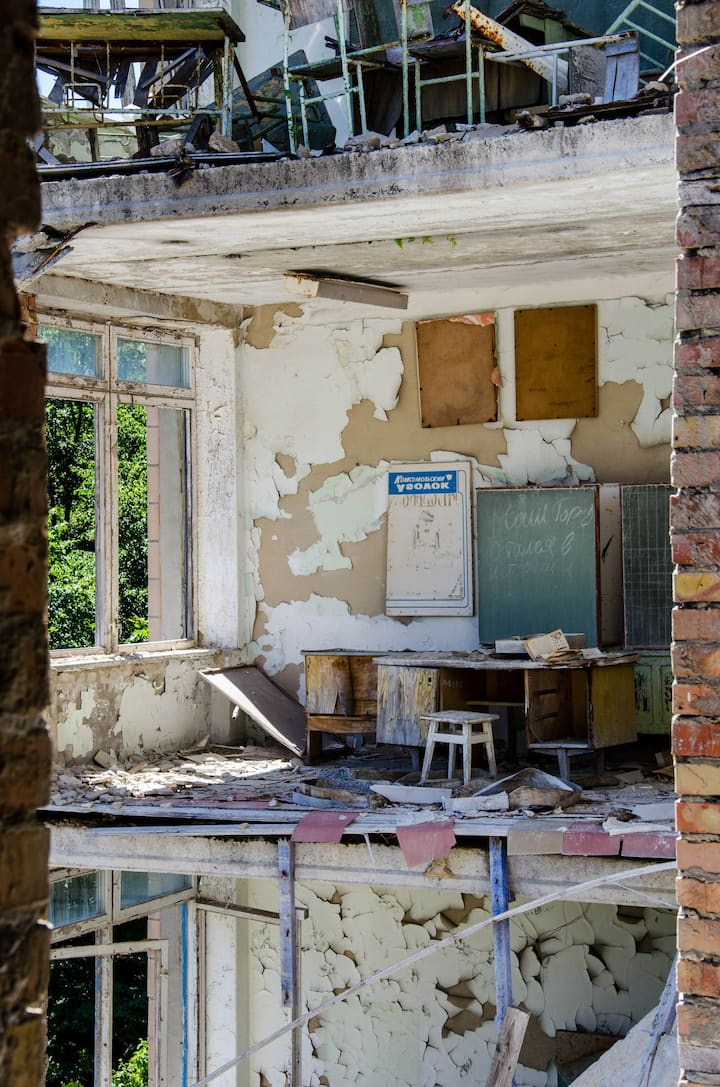 school in abandoned city