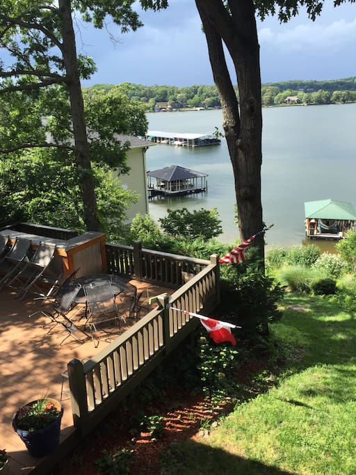 Relax in the sun or shade on the deck over looking the lake.