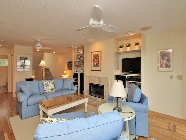Living Room with Deck Access at 5 Braddock Cove Club