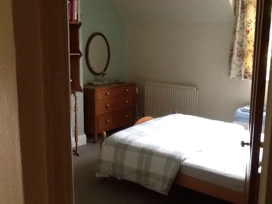 Light, airy room with pretty views. Contains fridge, kettle and microwave. Adjacent bathroom.
