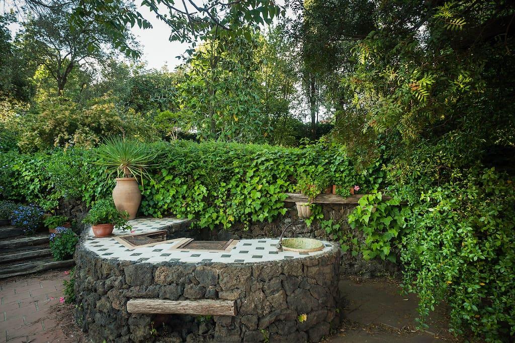 the lava stone barbecue area in the terrace