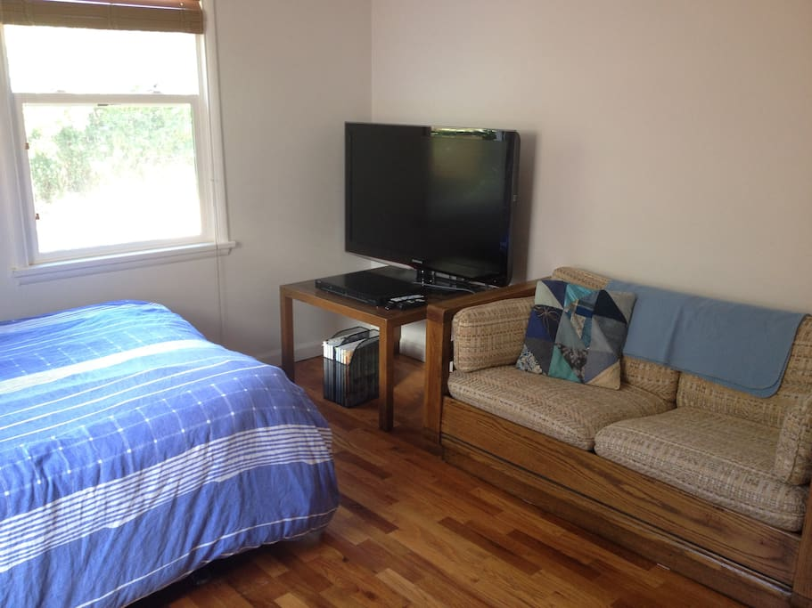 Private room with TV, DVD player, and couch