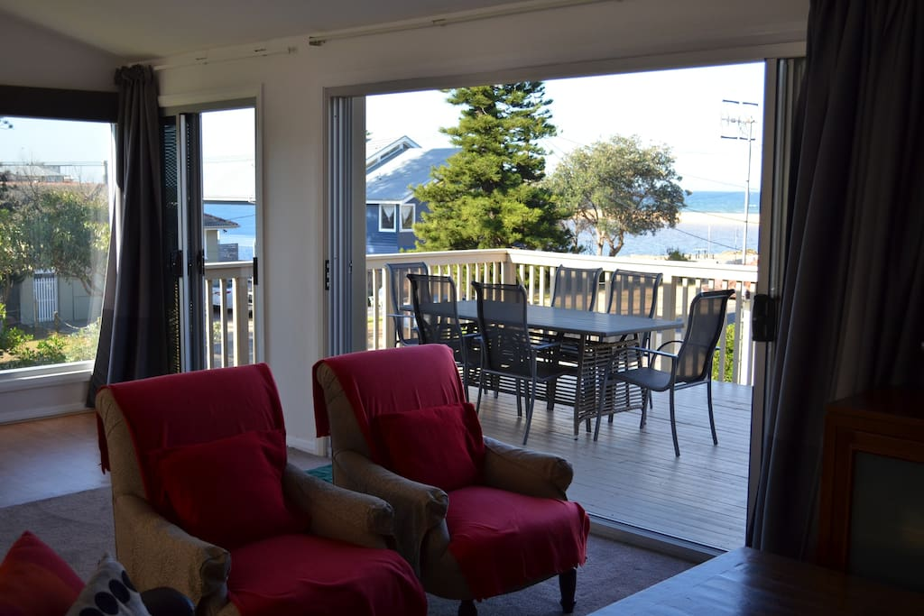 View to the beach and ocean from the upstairs lounge
