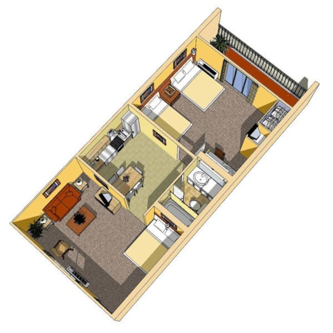 Layout of the apartment suite....you can choose a King bed or two full sized beds in your bedroom.  Every suite has a Murphy bed in the Living room that can sleep 2 adults.
