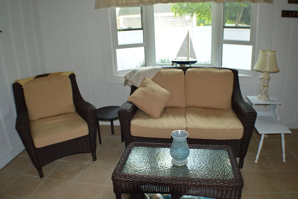Comfortable sitting area to relax in after a day at the beach