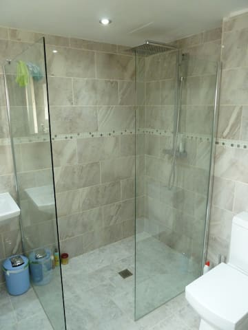 Very spacious and well looked after walking shower !