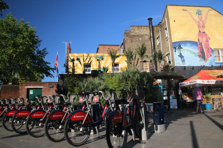 Boris bike hire station and Cubana bar/restaurant (a 2-minute walk)