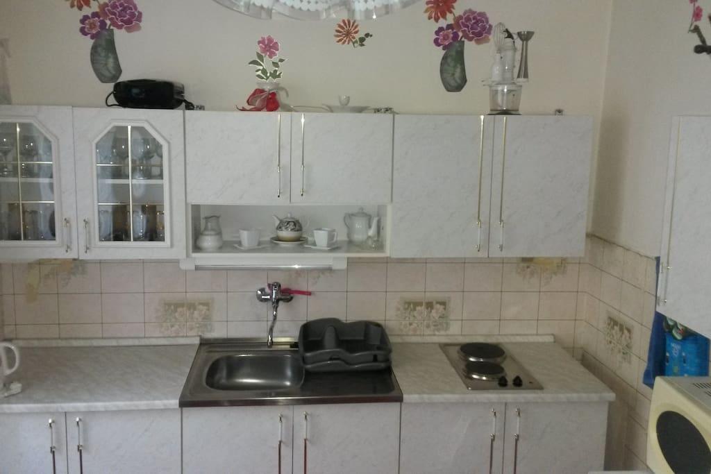 Kuchyň se základním vybavením, dvouplotynkovým vařičem, mikrovlnkou, ledničkou, varnou konvicím rádio. Kitchen with basic equipment as: 2 electric heaters, microwave oven, water kettle, fridge, radio.