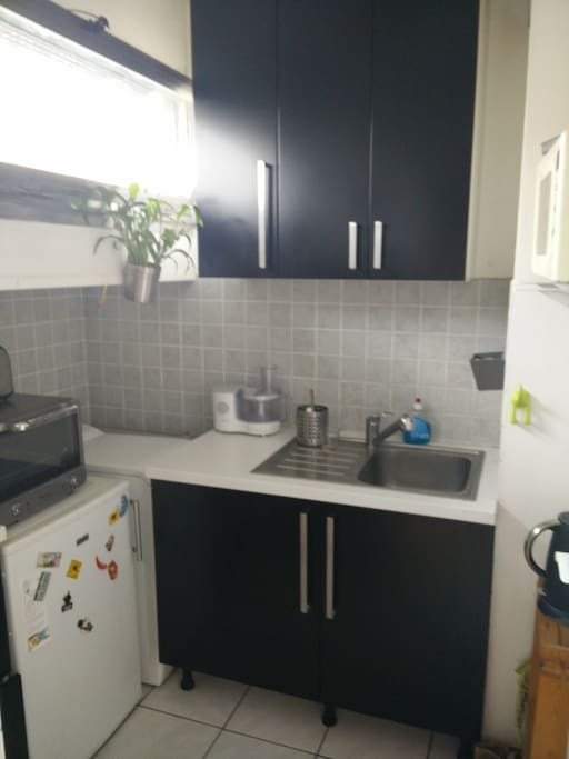 The kitchen with cupboard and sink + food processor + kettle