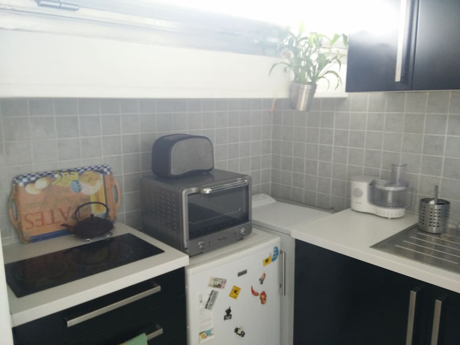 The kitchen with 2 induction plates + hoven + toaster and washing machine