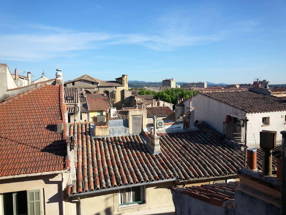 La vue des deux fenêtres donne sur les toits.