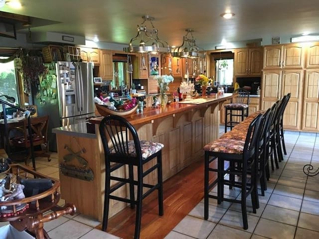 Kitchen with 2 ovens 2 cook tops warming drawer double dishwasher Etc.