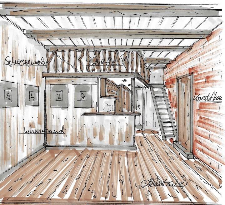 Moderne Ferienwohnung in alter Scheune, ökologisch
