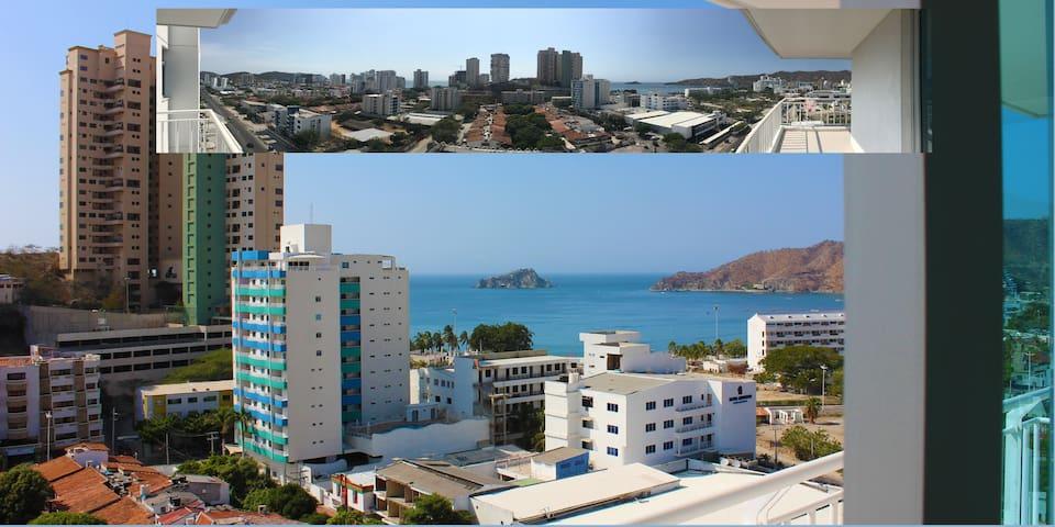 Great sea-sierra view from 12th floor in Rodadero