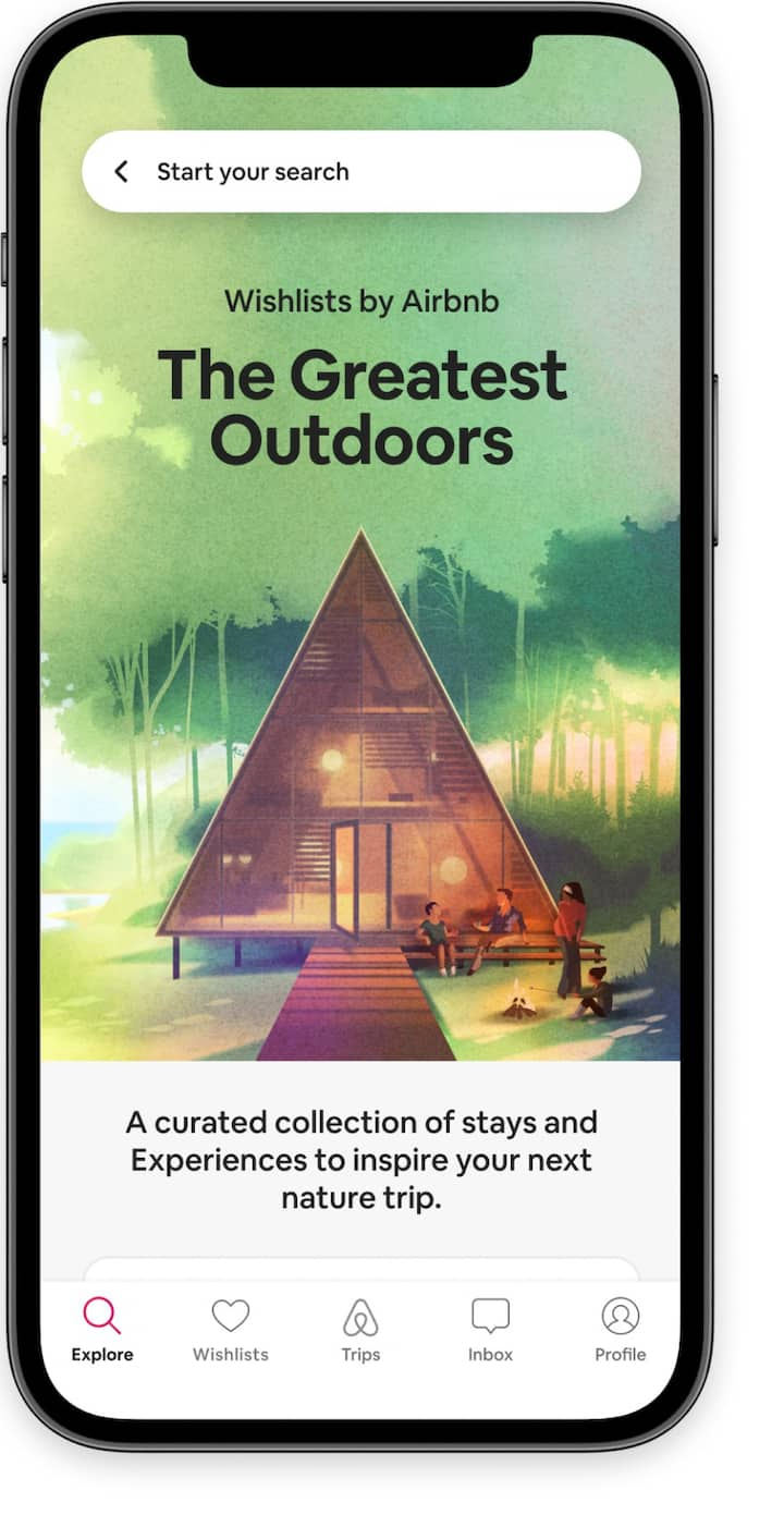 Home screen highlighting the Greatest Outdoors collection of Wishlists in the Airbnb app.