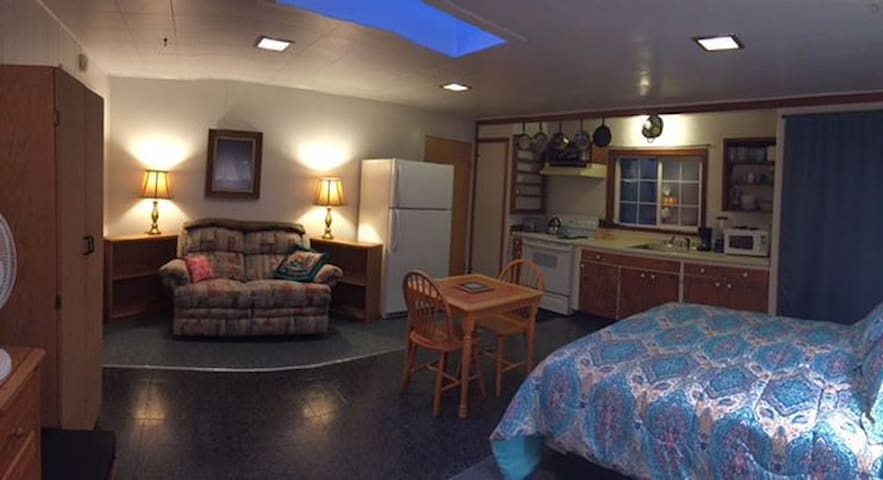 View of the apartment from the private entrance: designed for comfort and convenience of two guests, shows kitchen, dining area, and recliner for TV  viewing, and part of Queen bed. Bathroom door behind refrigerator.