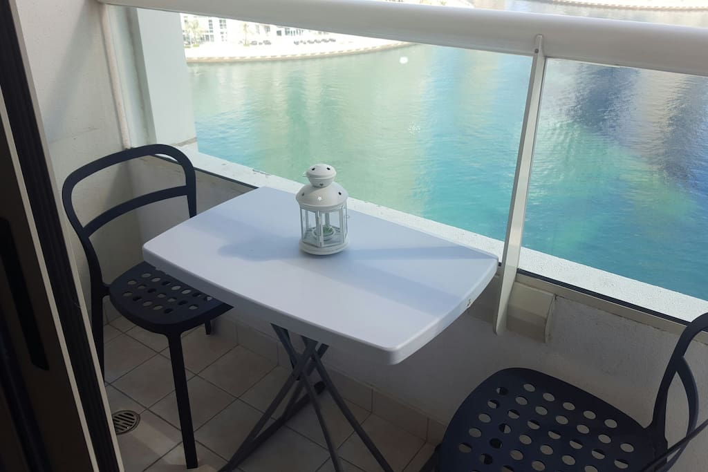 Balcony overlooking marina
