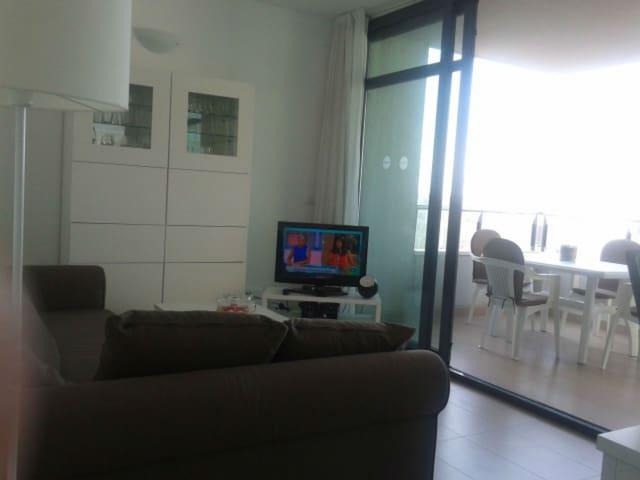 Salón comunicado con la terraza con TV