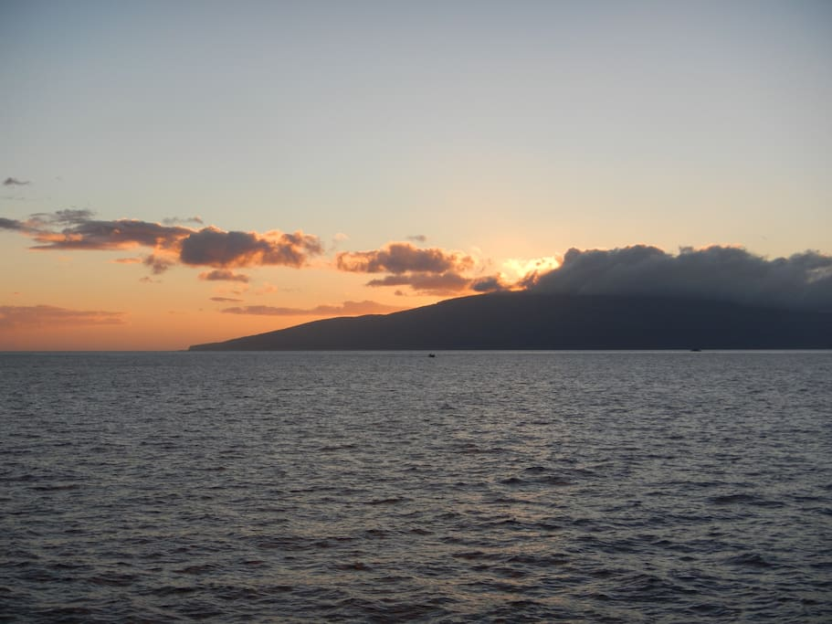 Sunset over Lanai, as seen from Lahaina, Maui