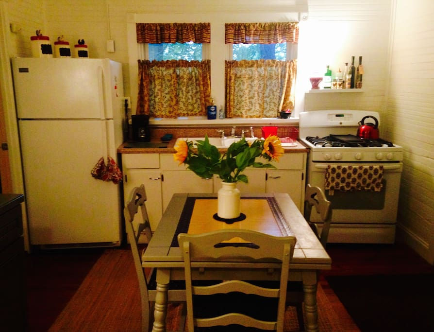 Fully stocked kitchen is yours to enjoy. I provide coffee, tea, cereal, milk, etc.