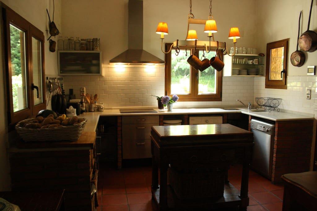 Cocina completa: lavavajillas, lavadora, frigorifico, horno, vitroceramica, plancha, tostadora, cafetera y todo tipo de utensilios.