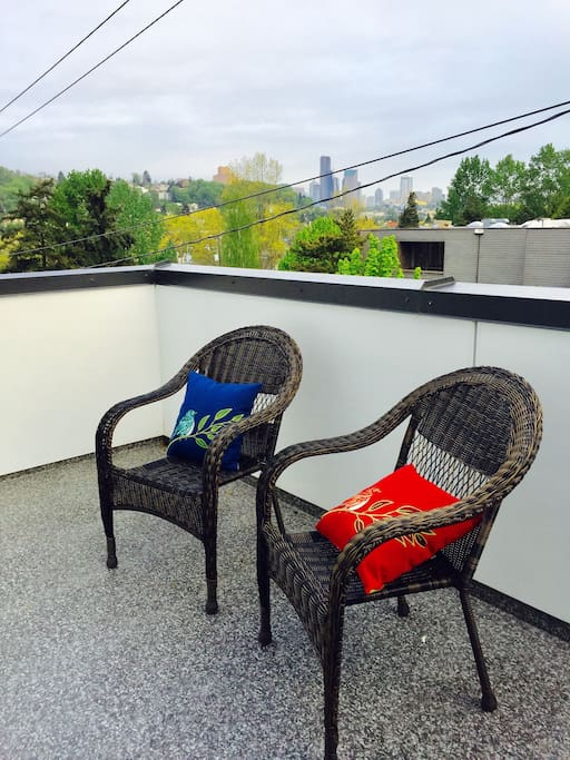 Private balcony with view of downtown Seattle