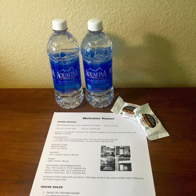 Bottled water, treats and house info when you arrive!