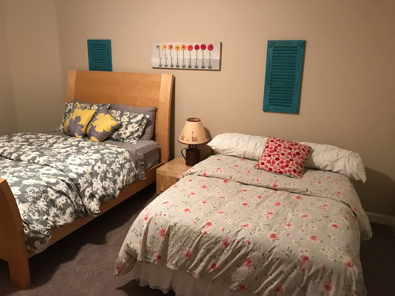 Queen size bed and full size bed
