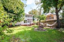Backyard, porch and hammocks.