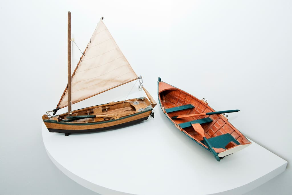 Traditional wooden boat miniature models.