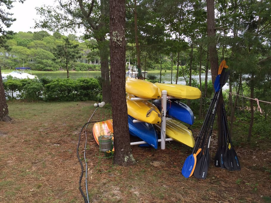 6 Kayaks and 1 paddleboard ready to go at water's edge.