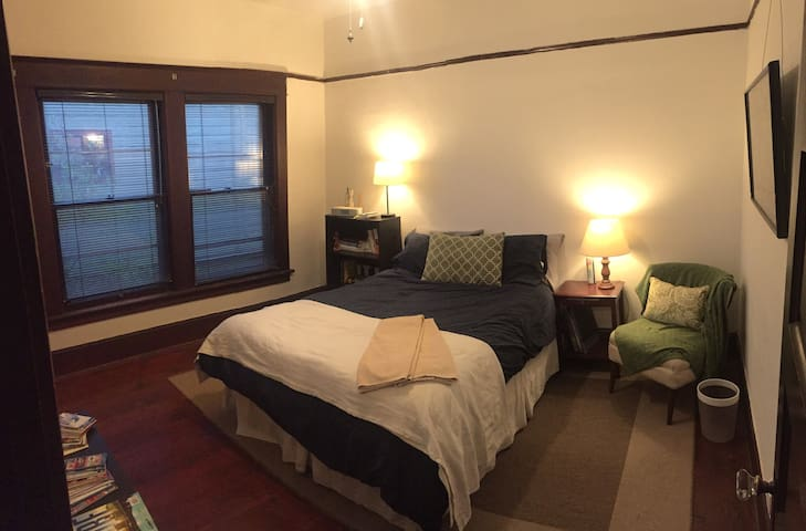 This is your private room with a very comfortable new Queen bed. There is a space heater and fan available for cool and warm nights along with plenty of outlets to recharge before your Portland adventures!