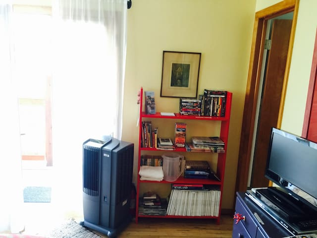 Air conditioning, movies, book & magazines.  Enjoy!
