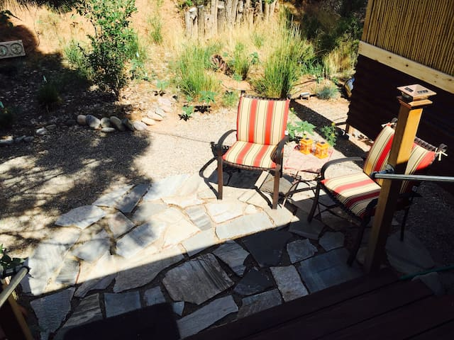 Inviting patio with morning sun and afternoon shade.