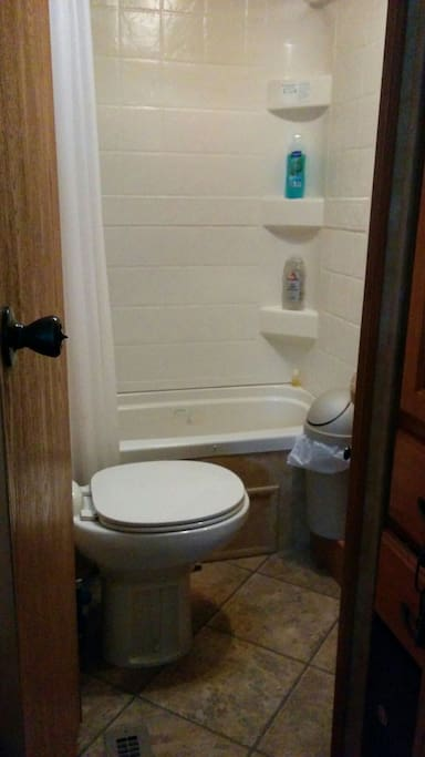 Bathroom does have a little tub for little ones with a shower