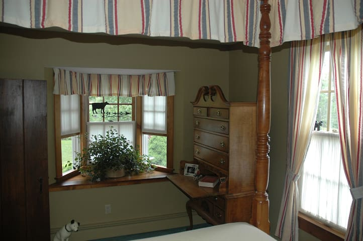 Bay window in the bedroom area.
