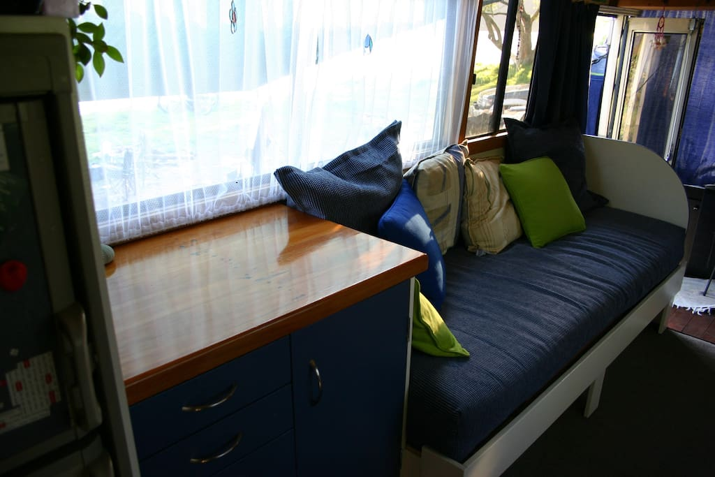 Couch converts to a single bed.