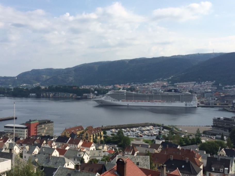 Cruise ships entering Bergen harbour in front of our window