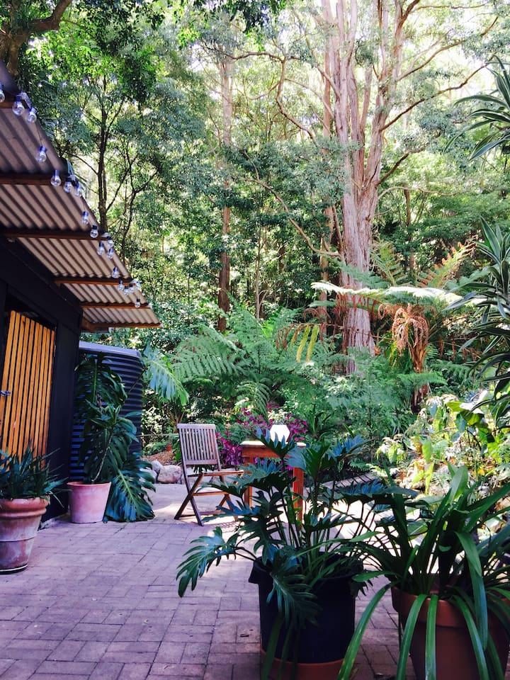 Courtyard backs onto the rainforest