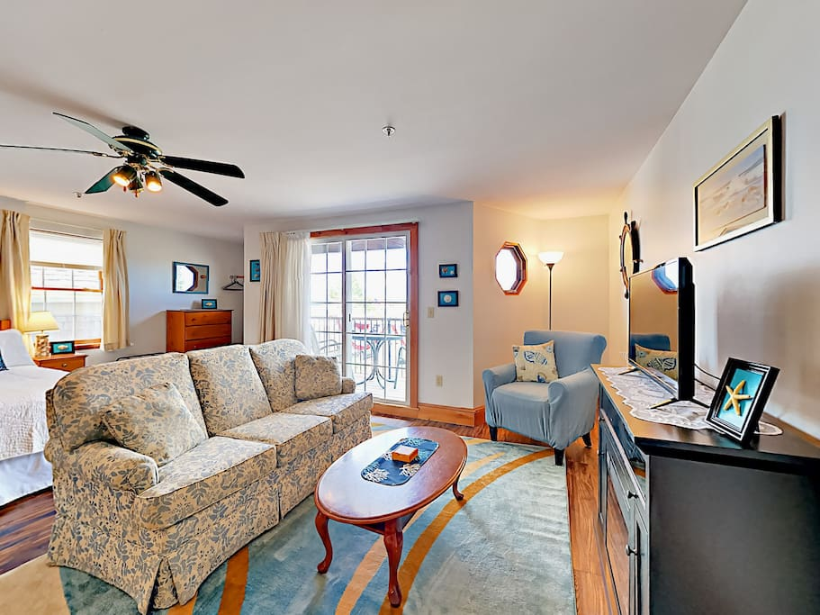 Comfortable seating accommodates four guests